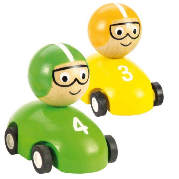 Auto da corsa a frizione verde e gialla